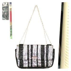 NWOT Barney's NY Silver and black sequin handbag